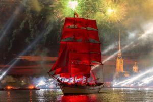 fireworks sailing ship boat