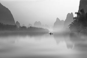 fisherman landscape palm trees monochrome mist china mountains river morning nature