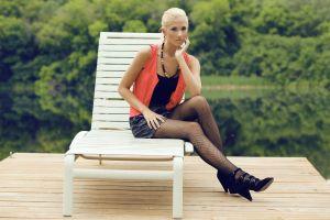 fishnet stockings model black stockings women blonde high heels women outdoors berit birkeland stockings necklace skirt