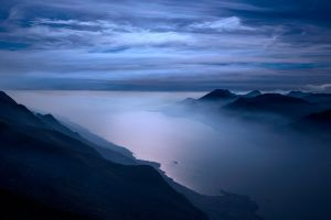 fjord landscape mountains night clouds