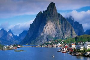 fjord village cliff norway mountains landscape