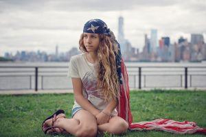 flag women women outdoors