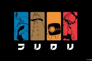 flcl simple background anime collage