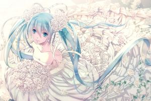 flower in hair long hair white flowers vocaloid wedding dress ribbon hatsune miku anime twintails anime girls