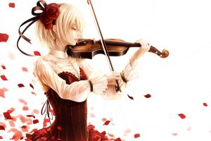 flower in hair simple background violin blonde anime girls musical instrument anime