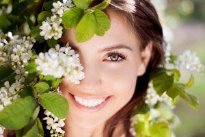 flowers women outdoors women leaves nature auburn hair hazel eyes cherry blossom face smiling cherry trees