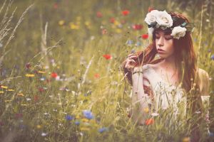 flowers women outdoors women wreaths closed eyes long hair hands in hair flower in hair redhead