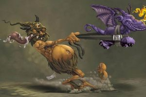 flying belly creature digital art closed eyes fire tongues men fantasy art horns dragon