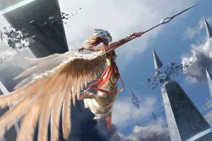 flying clouds wings spear fantasy art