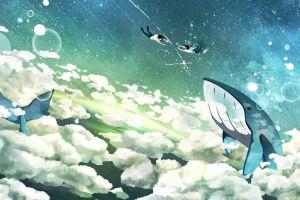 flying whale fantasy art sky