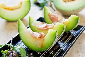 food fruit melons dishes ham