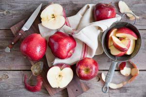 food fruit still life apples knife wood