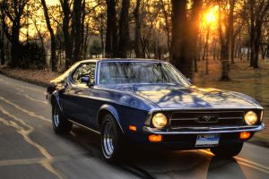 ford ford mustang car muscle cars trees road sunset