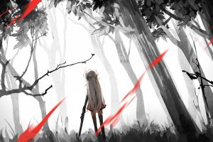 forest alone long hair weapon trees long hair