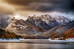 forest fall landscape cold mountains clouds nature lake snow