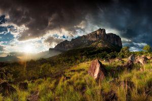 forest hdr sun rays grass mount roraima cliff field nature sky landscape sunset rock shrubs mountains venezuela