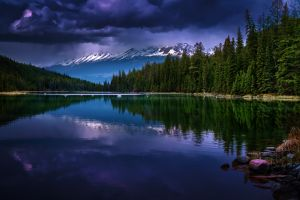forest landscape evening mountains snowy peak clouds reflection nature lake