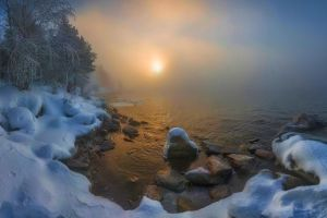 forest landscape russia winter lake nature snow mist cold trees