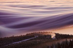 forest ski lift mountains nature czech republic mist landscape
