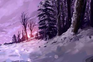 forest snow fantasy art trees