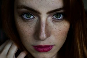 freckles green eyes portrait model face women