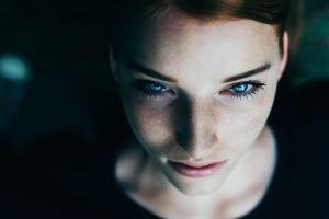 freckles portrait face model women blue eyes