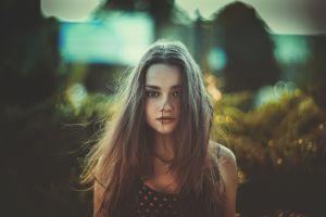 freckles portrait long hair hair in face women tank top brunette soft bokeh looking at viewer
