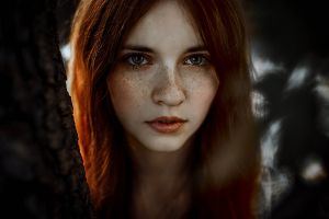 freckles portrait women redhead hazel eyes face model
