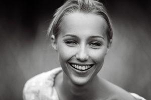 freckles women face smiling monochrome portrait nature model
