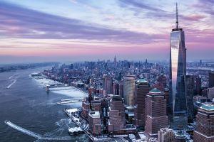 freedom tower cityscape city sunset winter usa ship new york city skyscraper river building hudson river manhattan one world trade center architecture