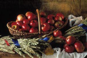 fruit apples wheat food still life baskets