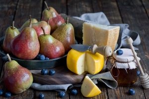 fruit cheese blueberries lunch pears honey food wooden surface colorful photography