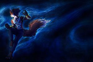 furry blue background anthro