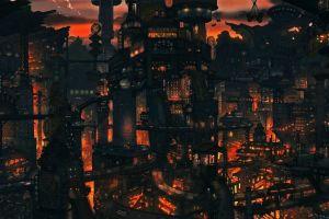 futuristic city anime cityscape futuristic