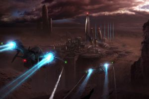 futuristic city digital art vehicle planet artwork science fiction