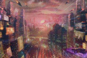 futuristic city futuristic science fiction artwork