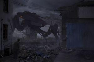 futuristic digital art artwork robot mech abandoned ruin apocalyptic dark