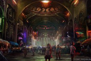 futuristic futuristic city cyberpunk digital art