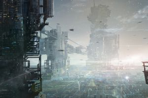 futuristic futuristic city digital art science fiction