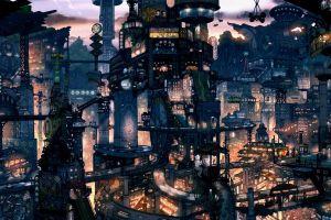 futuristic suicide sheep cyberpunk cityscape