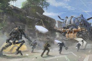 futuristic titanfall science fiction artwork military