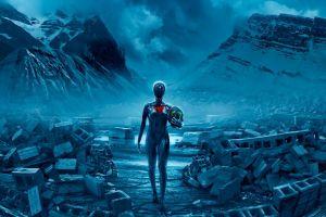 futuristic vitaly s alexius artwork mountains romantically apocalyptic  heart destruction gas masks fantasy art apocalyptic science fiction