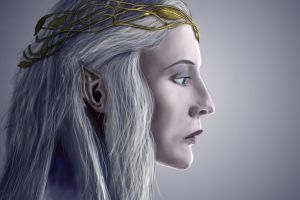 galadriel face elves the lord of the rings fantasy art women artwork blue eyes