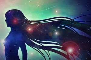 galaxy artwork digital art women stars