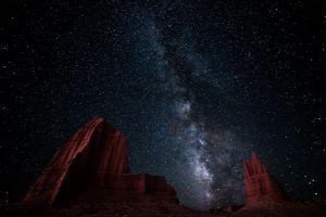 galaxy erosion long exposure nature milky way desert landscape hills starry night