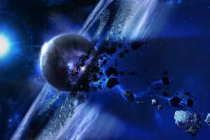 galaxy planet asteroid space