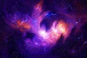 galaxy storm nebula digital art universe space stars