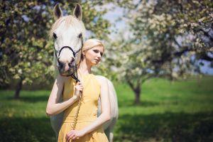 garden horse women yellow dress blonde model women with horse