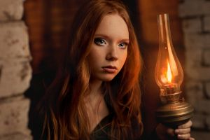 gas lamps women redhead model long hair face freckles blue eyes