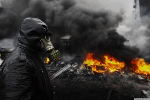 gas masks selective coloring fire